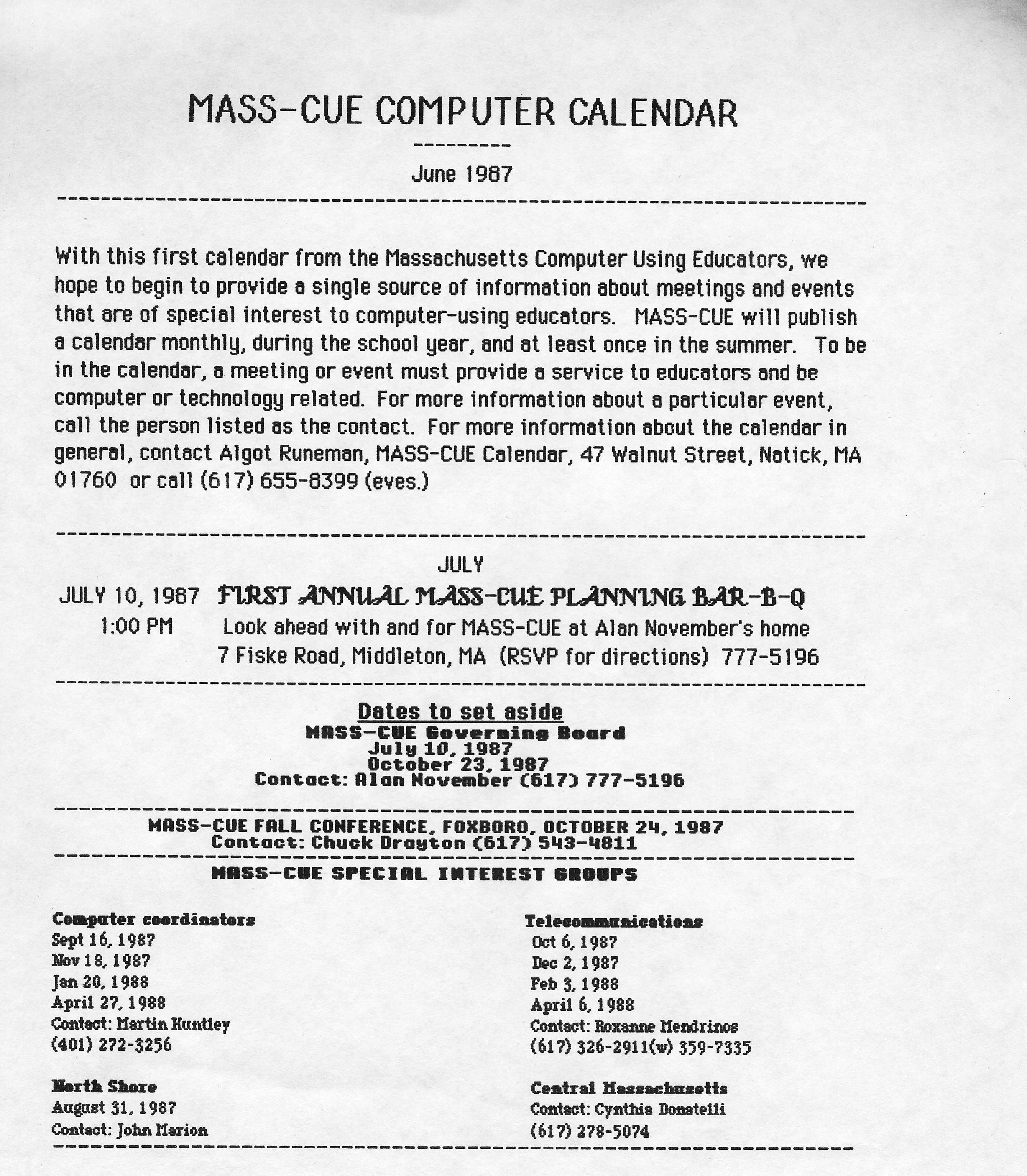 Masscue Archives 1987